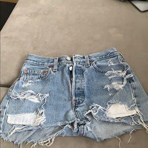 Vintage Levi denim distressed high waist shorts